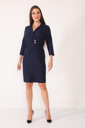 Element's Kadın Lacivert Kruvaze Yaka Ve Ön Kısmı Düğme Detaylı Ofis Elbise 1