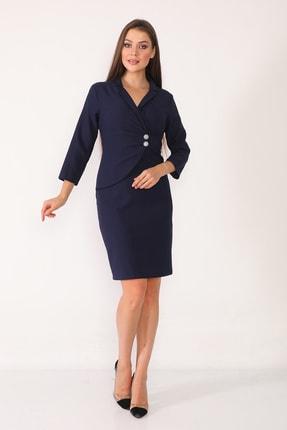 Element's Kadın Lacivert Kruvaze Yaka Ve Ön Kısmı Düğme Detaylı Ofis Elbise 2