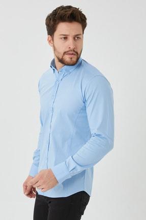 Cosmen Erkek Mavi Slim Fit Poplin Likralı Gömlek 1