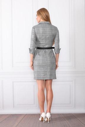 etselements Kadın Gri Göğüsten Düğme Ve Kuşak Detaylı Ofis Elbise 3
