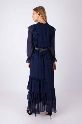 NOMENS Kadın Kemer Detaylı Şifon Uzun Elbise 2