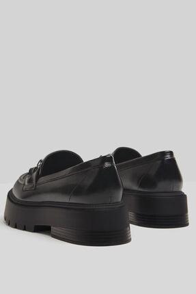 Bershka Kadın Siyah Zincirli Makosen Oxford Ayakkabı 4