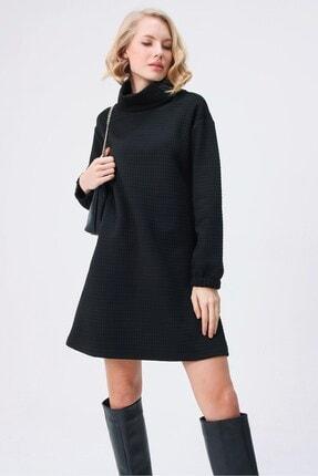 butikburuç Kadın Siyah Degaje Yaka Kısa Elbise 0