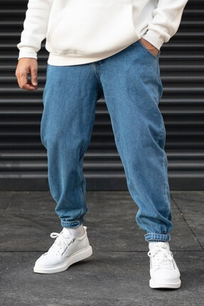 Modayı Tıkla Erkek Mavi Oversize Boyfriend Paçası Cırt Cırtlı Jogger Kot Pantolon 0