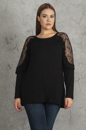 Ebsumu Kadın Siyah Büyük Beden Kol Fırfırlı Transparan Detaylı Bluz 0