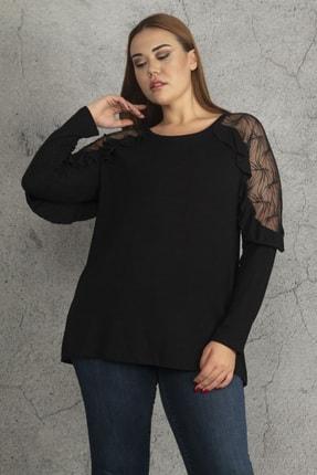 Ebsumu Kadın Siyah Büyük Beden Kol Fırfırlı Transparan Detaylı Bluz 1
