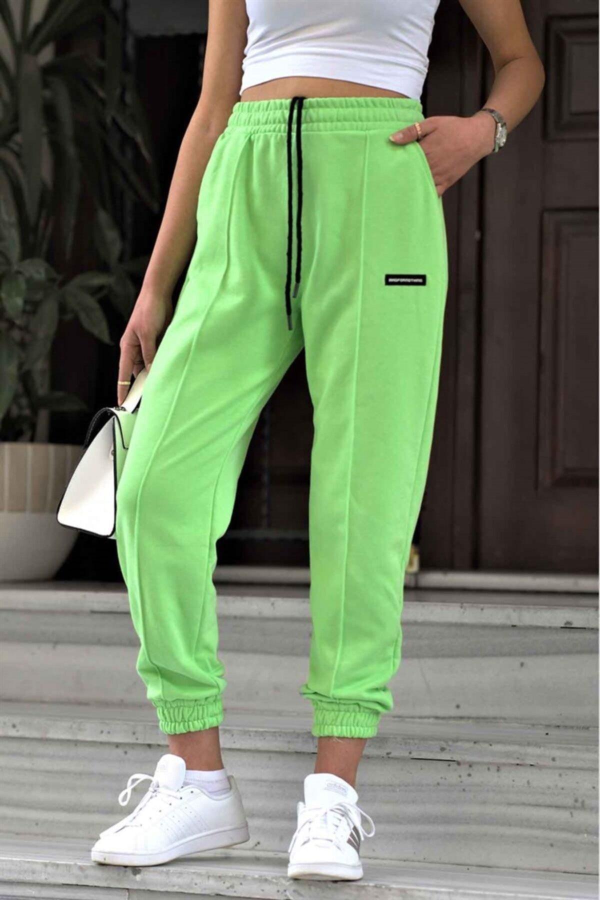 Kadın Neon Yeşil Jogger Eşofman