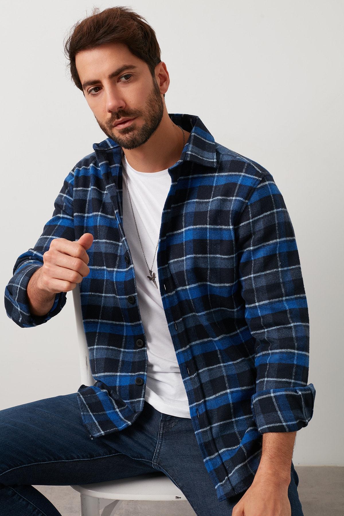Erkek İndigo Ekoseli Uzun Kollu Oduncu Gömlek  5910080