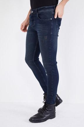 DİFRANSEL Erkek Koyu Lacivert Tırnaklı Skinny Likralı Dar Paça Kot Pantolon 2
