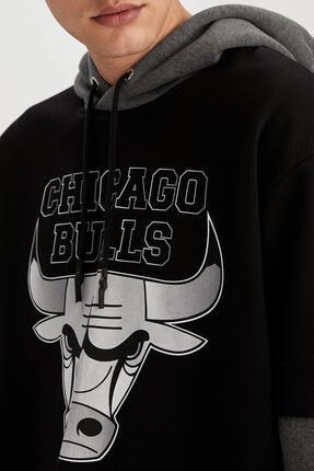 Defacto Fit Erkek Siyah Fit Kapüşonlu Sweatshirt 2