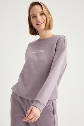 Defacto Kadın Lila Yazı Baskılı Relax Fit Sweatshirt 0