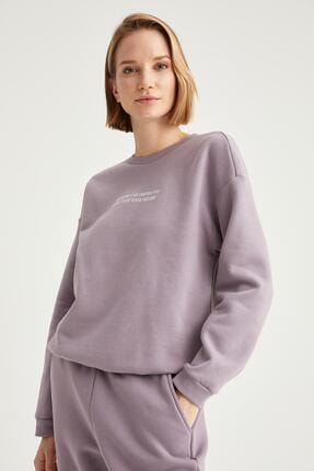 Defacto Kadın Lila Yazı Baskılı Relax Fit Sweatshirt 4
