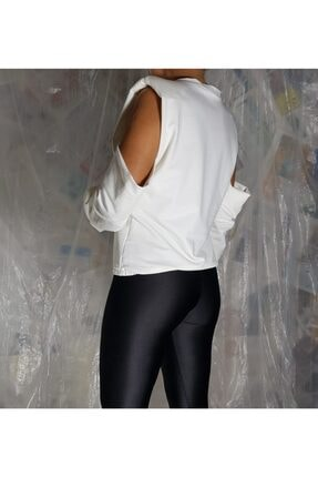 Aktrist Kadın Ekru Kol Dekolteli Sweatshirt 2
