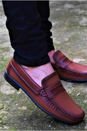 ALBİDÜNYA Erkek Kahverengi Günlük Ayakkabı Baskı Detay Modelli Loafer Ayakkabı 0