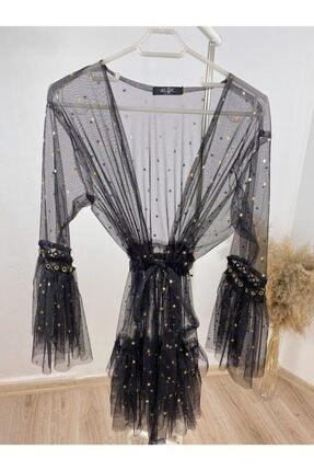 The Elsa Kadın Siyah Yıldızlı Kısa Tül Kimono 0