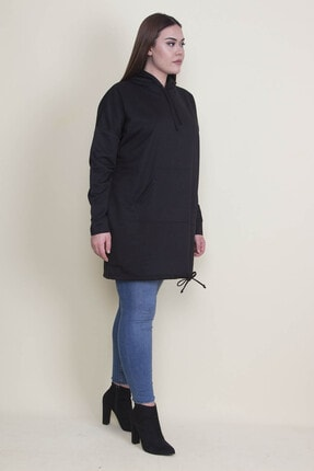 Şans Kadın Siyah Kapşonlu Kanguru Cepli Sweatshirt 65N21332 1