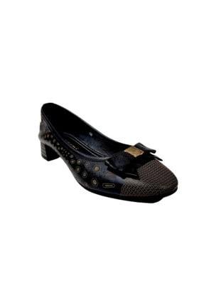 Mammamia Siyah Desenli Kısa Topuklu Kadın Ayakkabı 1