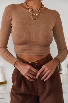 Xena Kadın Kahverengi Sırt Detaylı Bluz 1KZK2-11034-18 1