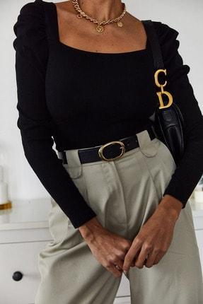 Xena Kadın Siyah Prenses Kol U Yaka Bluz 1KZK2-11035-02 2