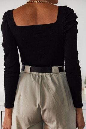 Xena Kadın Siyah Prenses Kol U Yaka Bluz 1KZK2-11035-02 4