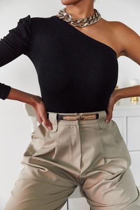 Xena Kadın Siyah Tek Kol Büzgülü Bluz 1KZK2-11033-02 1