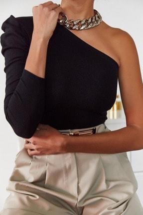 Xena Kadın Siyah Tek Kol Büzgülü Bluz 1KZK2-11033-02 2