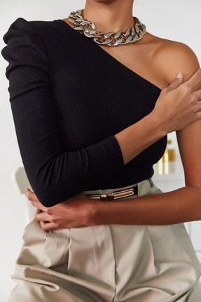 Xena Kadın Siyah Tek Kol Büzgülü Bluz 1KZK2-11033-02 3