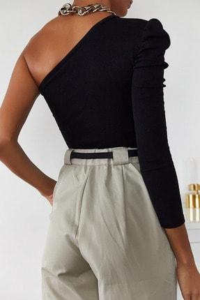 Xena Kadın Siyah Tek Kol Büzgülü Bluz 1KZK2-11033-02 4
