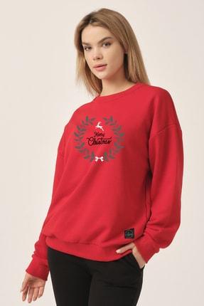 to COSMOS Oversize Sweatshirt Kırmızı Merry Christmas Geyik 3