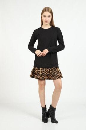 Kare Butik Kadın Siyah Leopar Desenli Sweatshirt Elbise 2