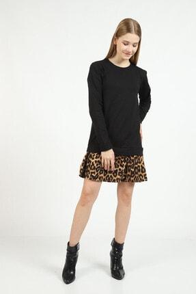 Kare Butik Kadın Siyah Leopar Desenli Sweatshirt Elbise 3
