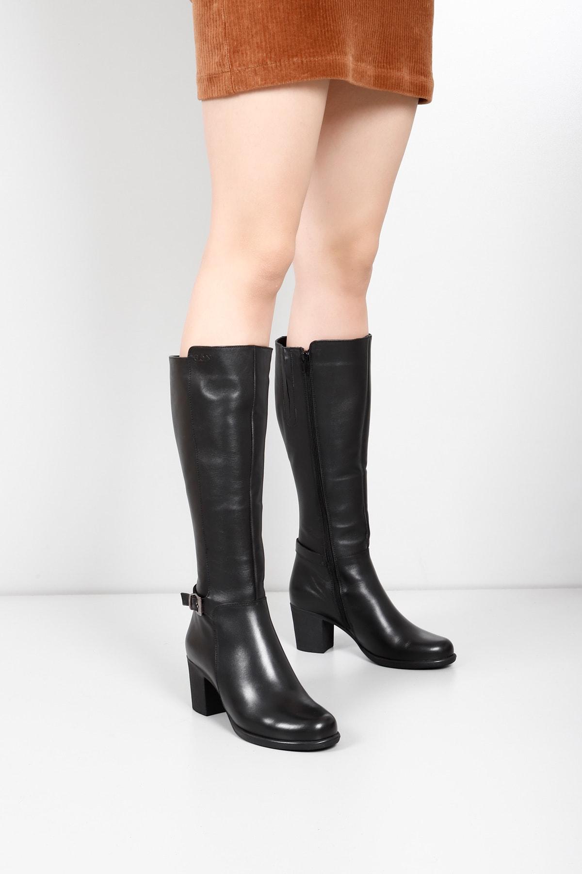 Gön Hakiki Deri Siyah Tokalı Topuklu Fermuarlı Günlük Kadın Çizme 46501