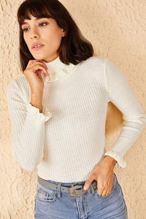 Bianco Lucci Kadın Beyaz Yakası Ve Kolları Fırfırlı Triko Bluz 3