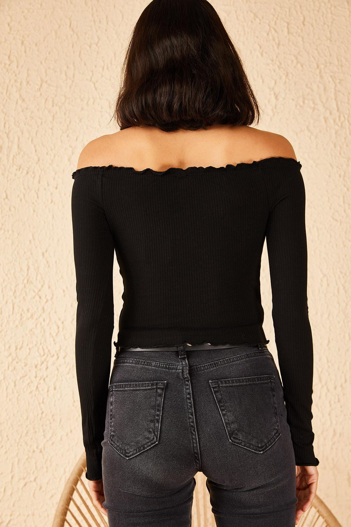 Bianco Lucci Kadın Siyah Kayıkçı Yaka Fitilli Bluz 10191059 4