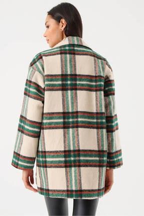 Modakapimda Kadın Bej Ekose Düğmeli Kaşe Ceket 2