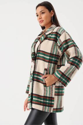 Modakapimda Kadın Bej Ekose Düğmeli Kaşe Ceket 4