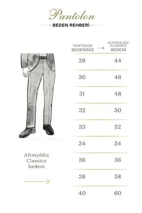 Altınyıldız Classics Erkek Mavi Slim Fit Desenli Pantolon 4