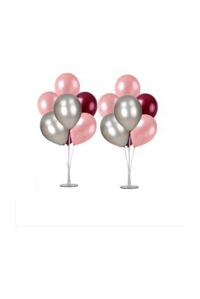 Magic Hobby 2 Adet 7'li Balon Standı Ve 14 Adet Rose Gold- Gümüş - Bordo Metalik Balon Set 0