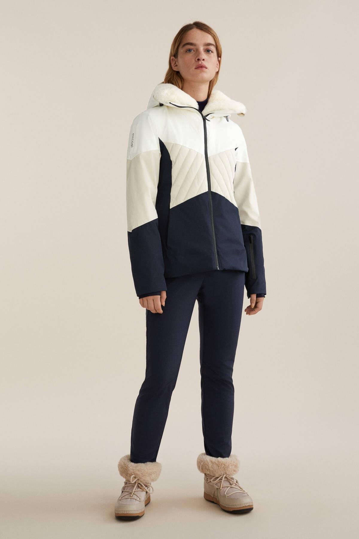 Oysho Kadın Deniz Mavisi Dolgulu Panelli Recco® Kayak Montu 2