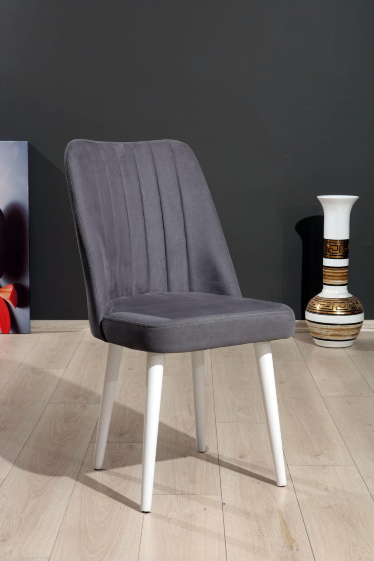 Polo Sandalye Gri Düz Renk Kumaş - Ahşap Beyaz Ayaklı