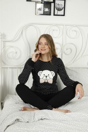 POLKAN Kadın Siyah Interlok Pijama Takımı 0
