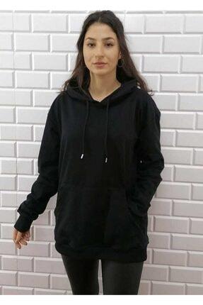 KALİK Unisex Oversize Siyah Kapüşonlu Kanguru Cep Sweatshirt 0