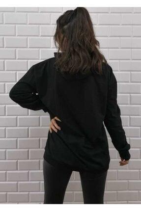 KALİK Unisex Oversize Siyah Kapüşonlu Kanguru Cep Sweatshirt 3