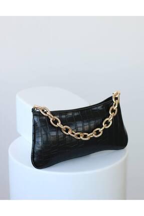 EMNORA Kadın Siyah Mapel Croco Baget Çanta 1