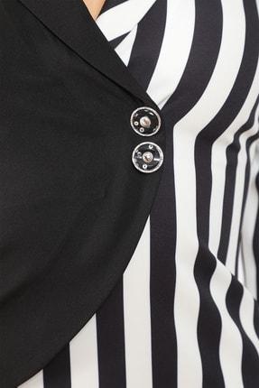 etselements Kadın Siyah Truvakar Kol Çizgili Kruvaze Ve Düğmeli Ofis Elbisesi 3