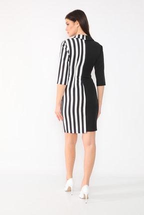 etselements Kadın Siyah Truvakar Kol Çizgili Kruvaze Ve Düğmeli Ofis Elbisesi 4