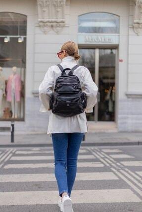 Shule Bags Yıkama Deri Kadın Sırt Çantası Maura Siyah 2