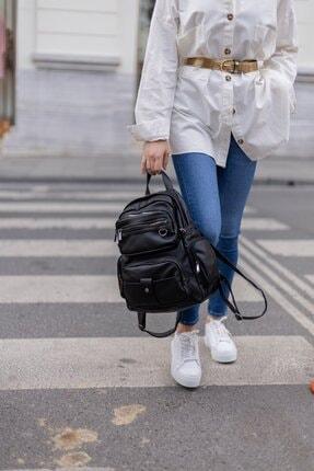 Shule Bags Yıkama Deri Kadın Sırt Çantası Maura Siyah 3