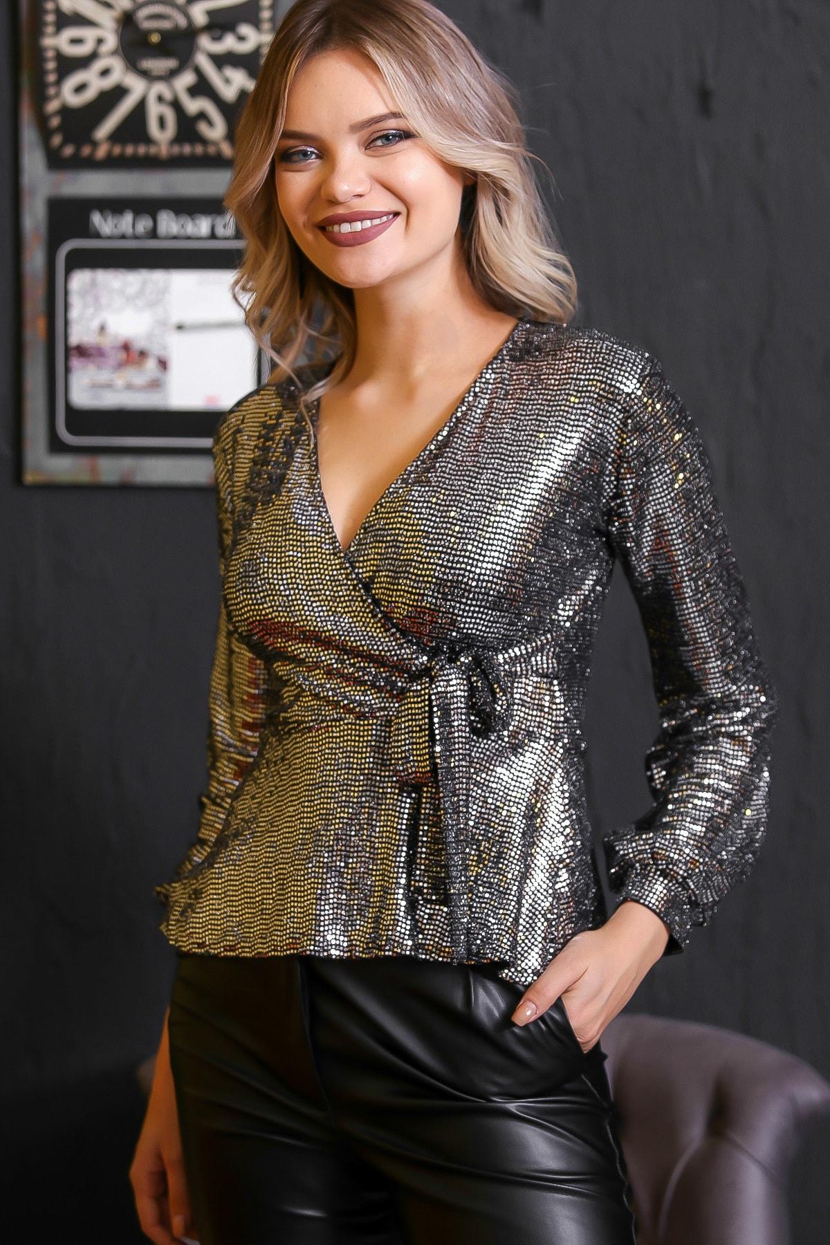 Chiccy Kadın Gümüş Bağlama Detaylı Işıltılı Bluz M10010200BL95672 0