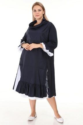 Picture of Kadın Lacivert Astronot Yaka Çiçek Baskılı Truvakar Kol Elbise